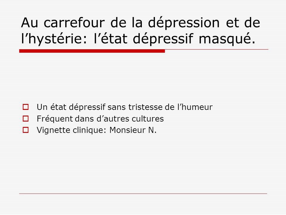Au carrefour de la dépression et de l'hystérie: l'état dépressif masqué.