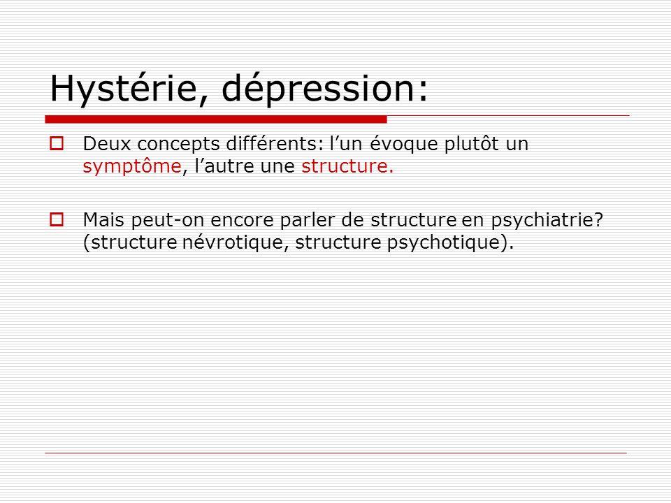 Hystérie, dépression: Deux concepts différents: l'un évoque plutôt un symptôme, l'autre une structure.