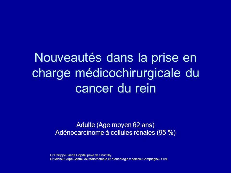 Adulte (Age moyen 62 ans) Adénocarcinome à cellules rénales (95 %)