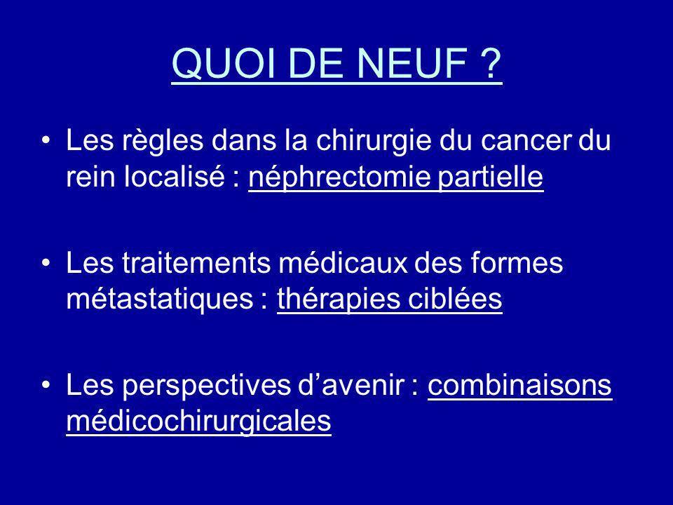 QUOI DE NEUF Les règles dans la chirurgie du cancer du rein localisé : néphrectomie partielle.