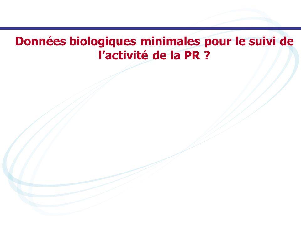 Données biologiques minimales pour le suivi de l'activité de la PR