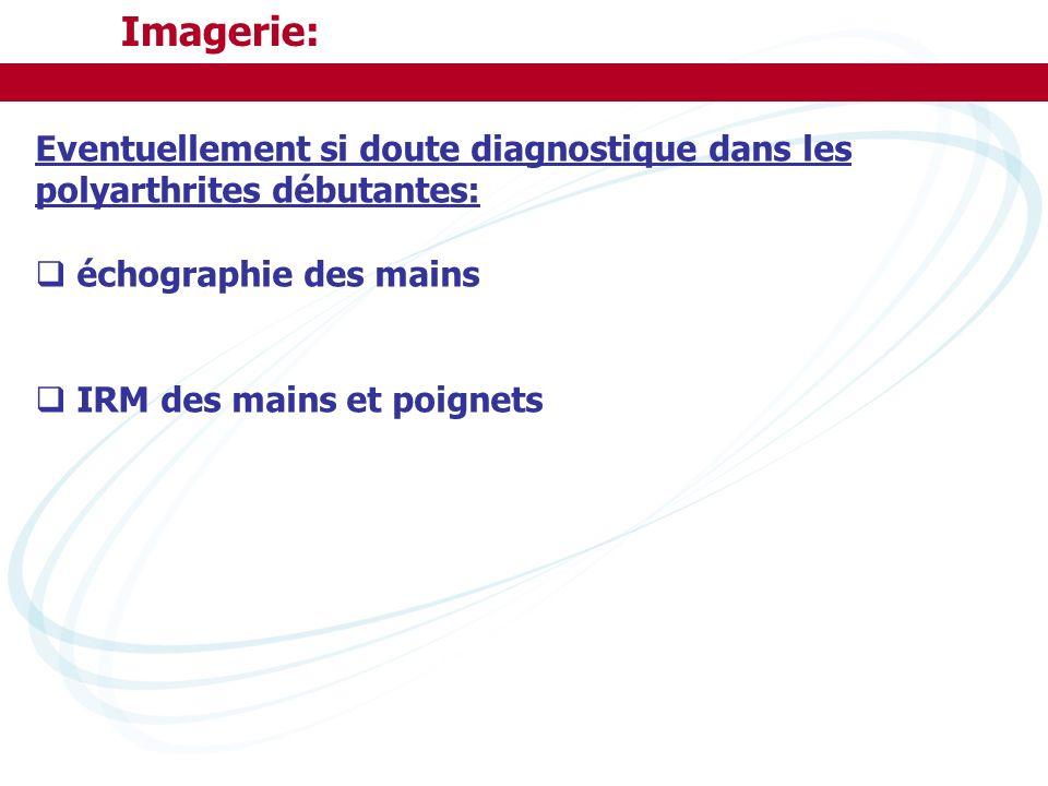 Imagerie: Eventuellement si doute diagnostique dans les polyarthrites débutantes: échographie des mains.