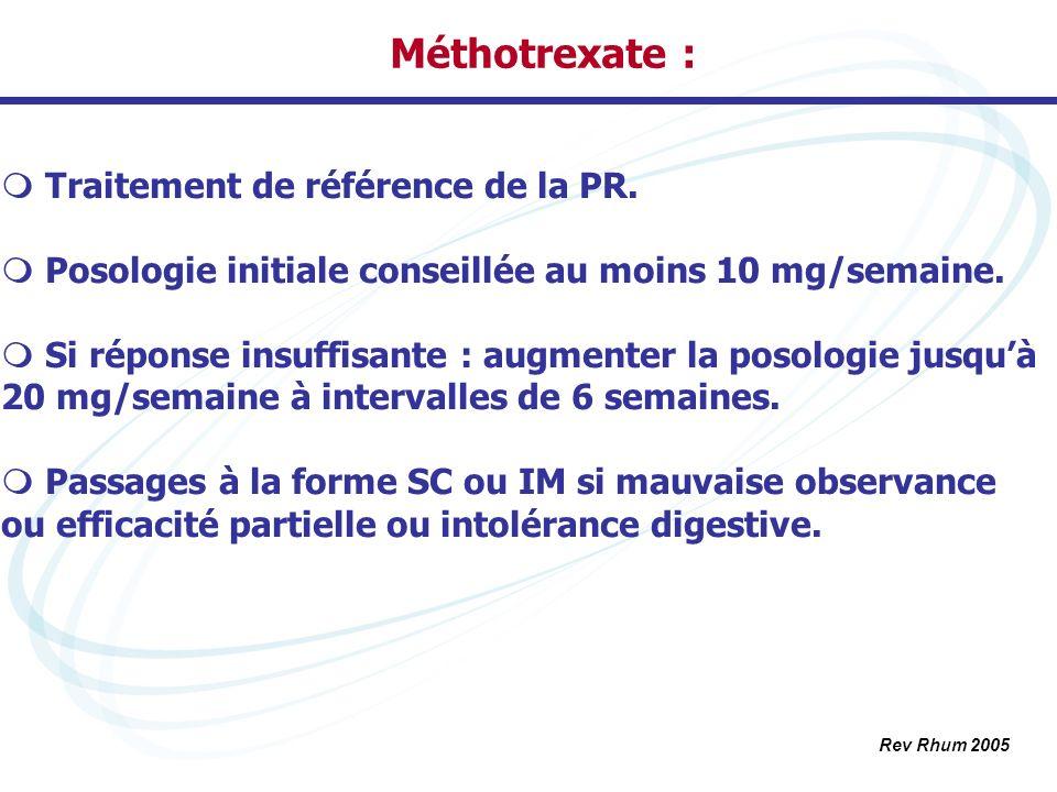 Méthotrexate : Traitement de référence de la PR.