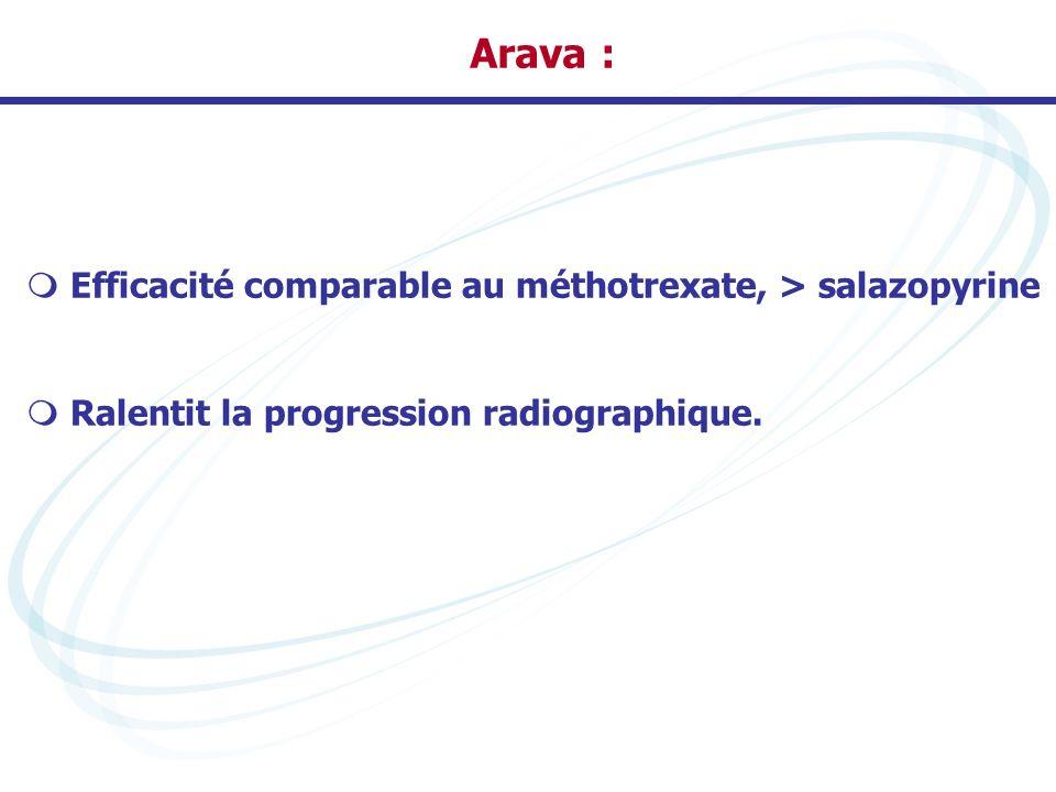 Arava : Efficacité comparable au méthotrexate, > salazopyrine