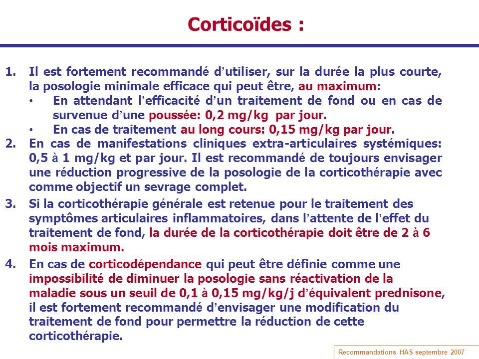 Corticoïdes : Il est fortement recommandé d'utiliser, sur la durée la plus courte, la posologie minimale efficace qui peut être, au maximum: