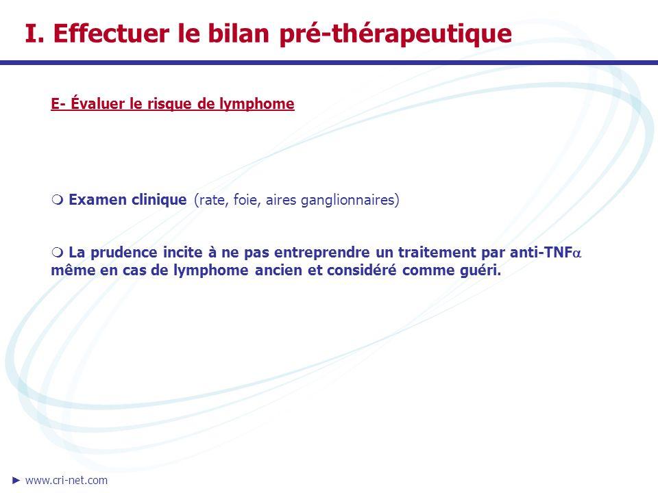 I. Effectuer le bilan pré-thérapeutique
