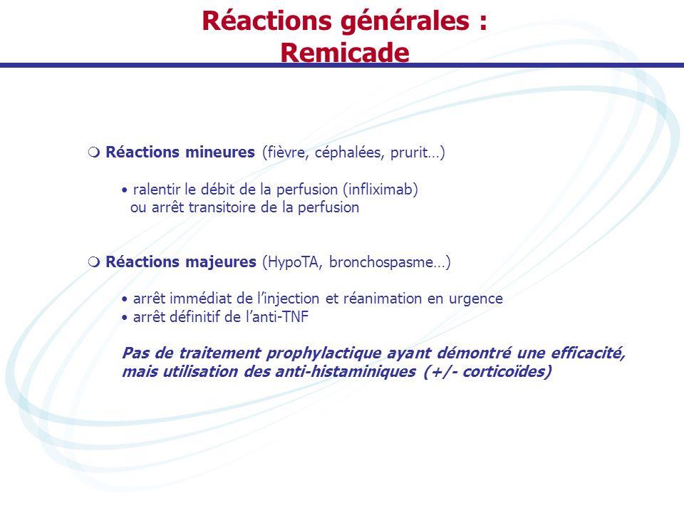 Réactions générales : Remicade