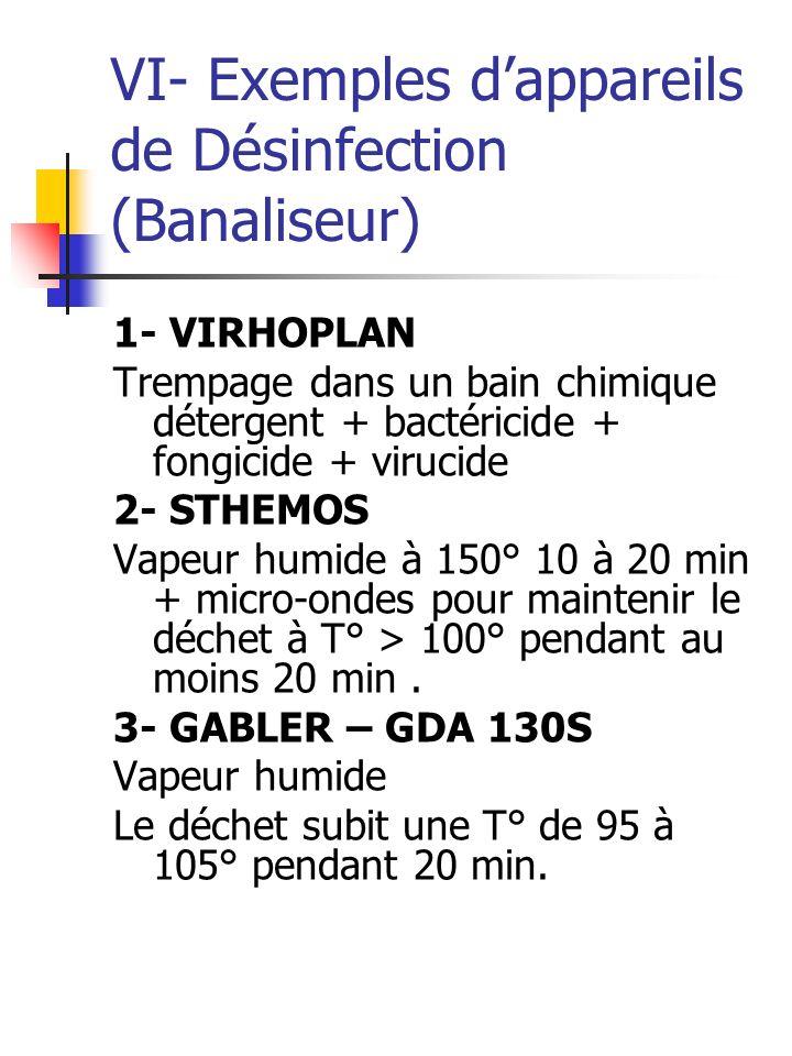 VI- Exemples d'appareils de Désinfection (Banaliseur)