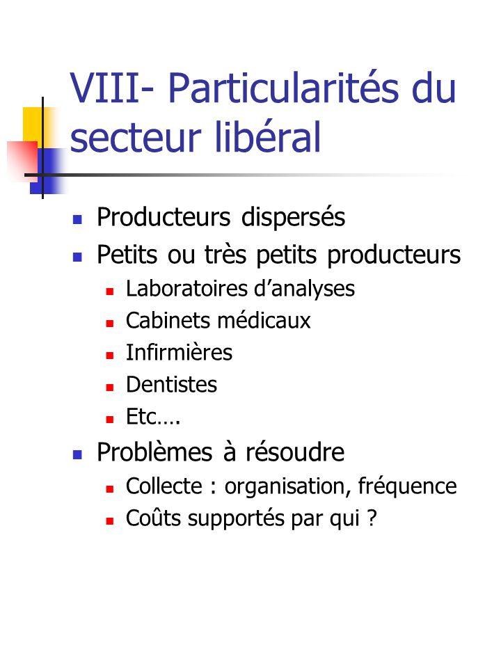 VIII- Particularités du secteur libéral