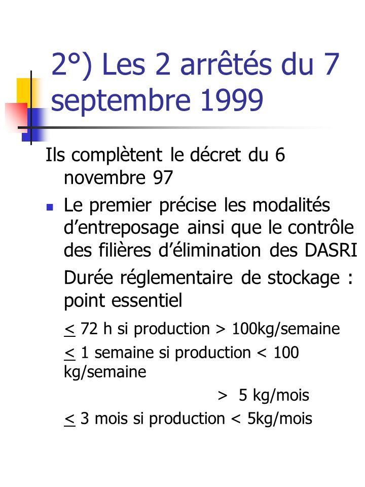 2°) Les 2 arrêtés du 7 septembre 1999