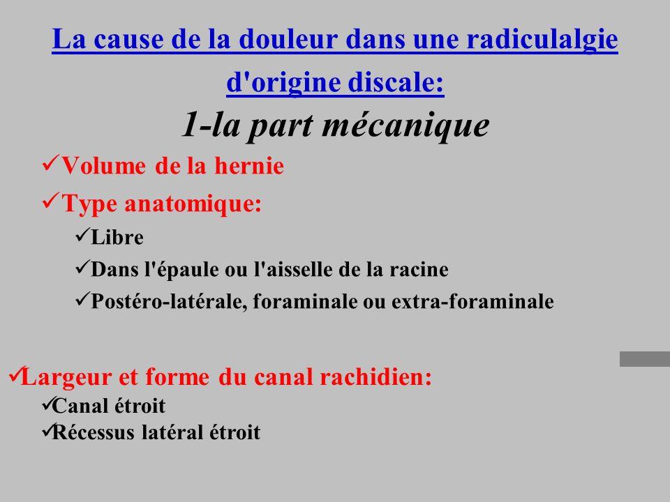 La cause de la douleur dans une radiculalgie d origine discale: 1-la part mécanique