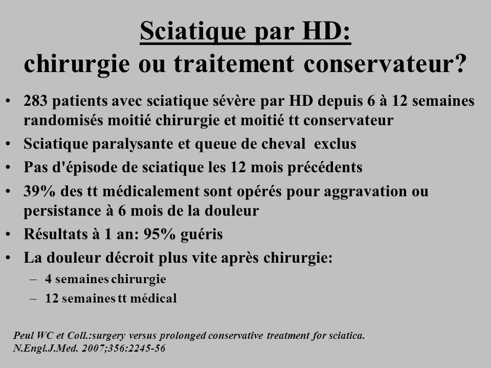 Sciatique par HD: chirurgie ou traitement conservateur