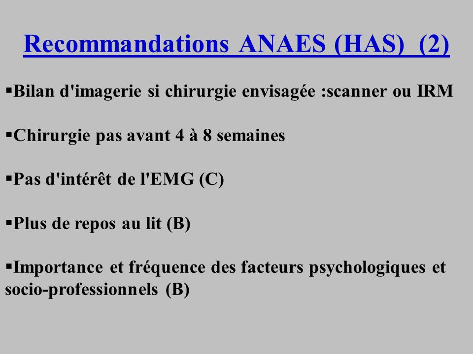 Recommandations ANAES (HAS) (2)