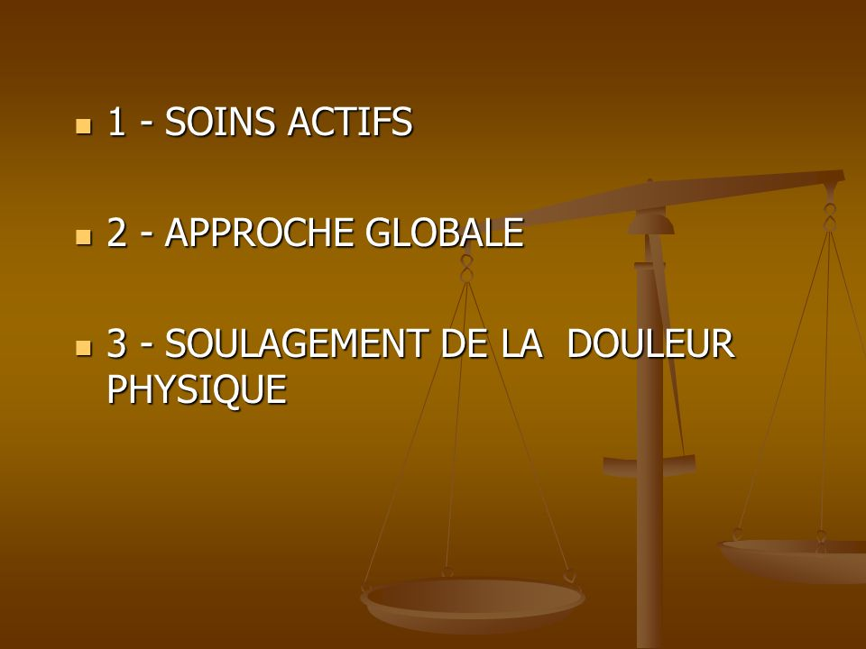 1 - SOINS ACTIFS 2 - APPROCHE GLOBALE 3 - SOULAGEMENT DE LA DOULEUR PHYSIQUE