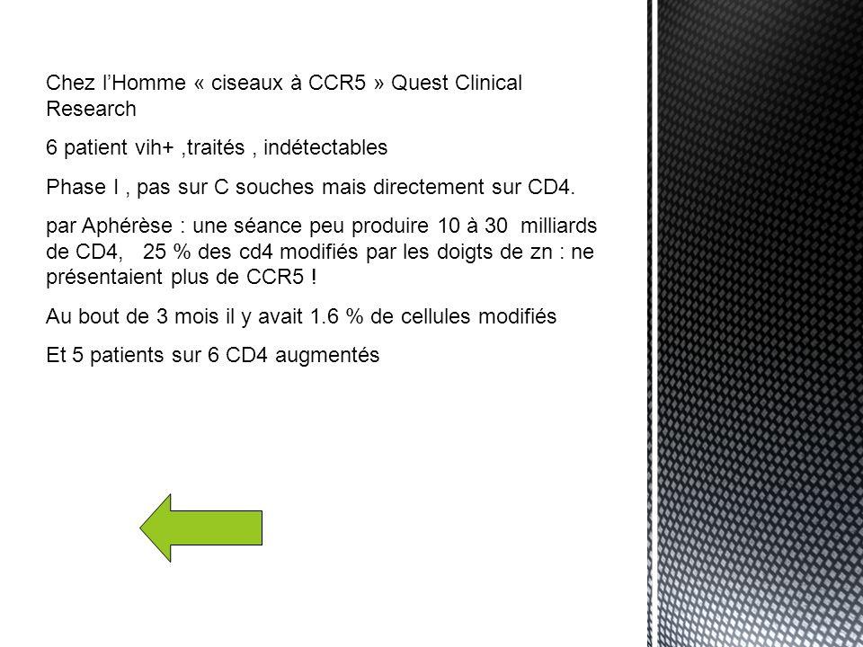 Chez l'Homme « ciseaux à CCR5 » Quest Clinical Research