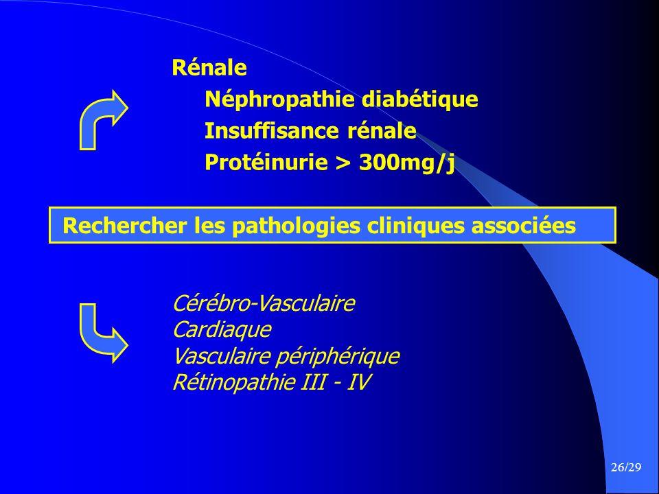 Rénale Néphropathie diabétique. Insuffisance rénale. Protéinurie > 300mg/j. Rechercher les pathologies cliniques associées.