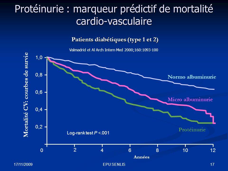 Protéinurie : marqueur prédictif de mortalité cardio-vasculaire