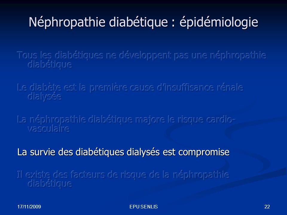 Néphropathie diabétique : épidémiologie