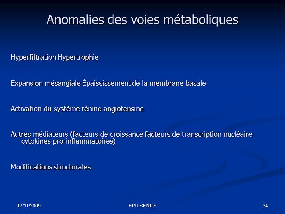 Anomalies des voies métaboliques