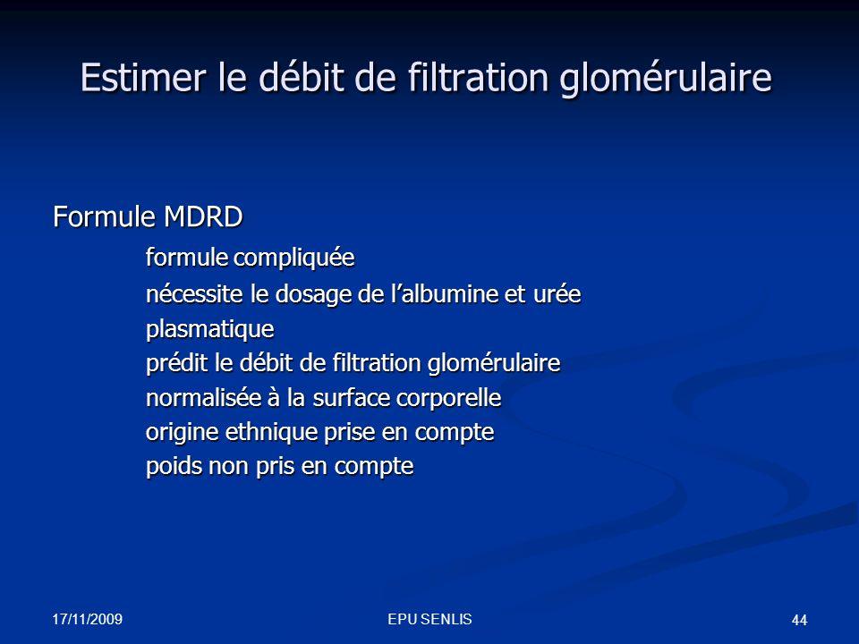 Estimer le débit de filtration glomérulaire
