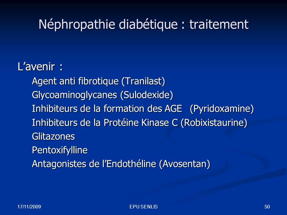 Néphropathie diabétique : traitement