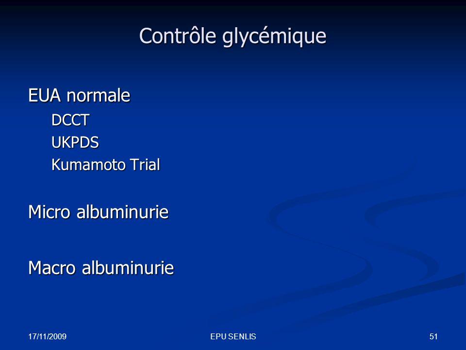 Contrôle glycémique EUA normale Micro albuminurie Macro albuminurie
