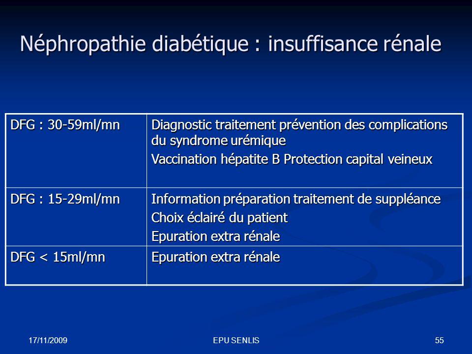 Néphropathie diabétique : insuffisance rénale