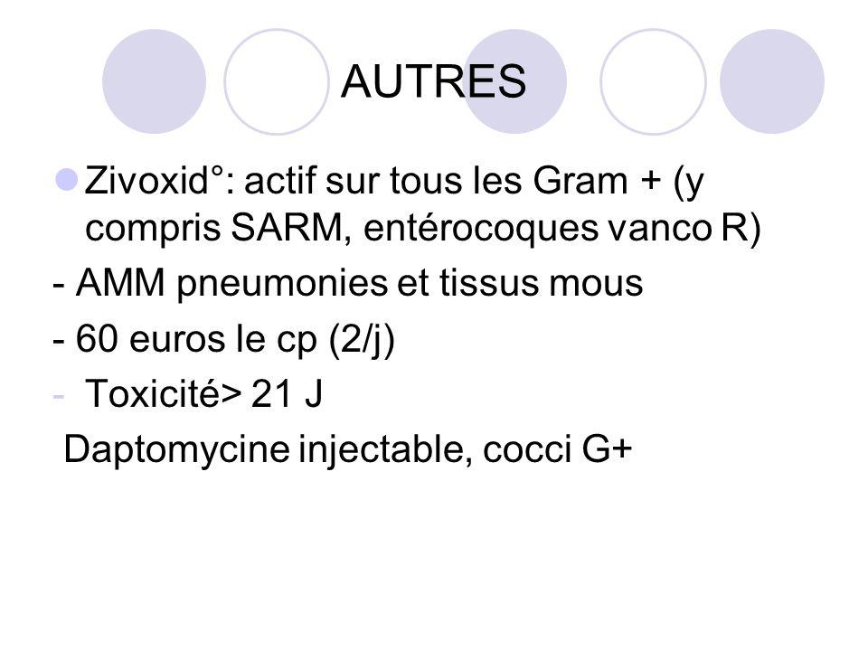 AUTRESZivoxid°: actif sur tous les Gram + (y compris SARM, entérocoques vanco R) - AMM pneumonies et tissus mous.