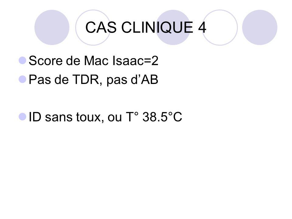 CAS CLINIQUE 4 Score de Mac Isaac=2 Pas de TDR, pas d'AB