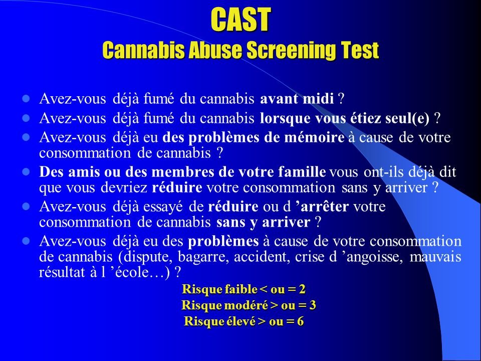 CAST Cannabis Abuse Screening Test