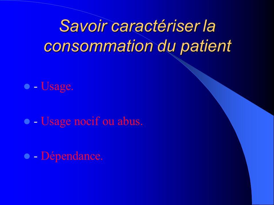Savoir caractériser la consommation du patient