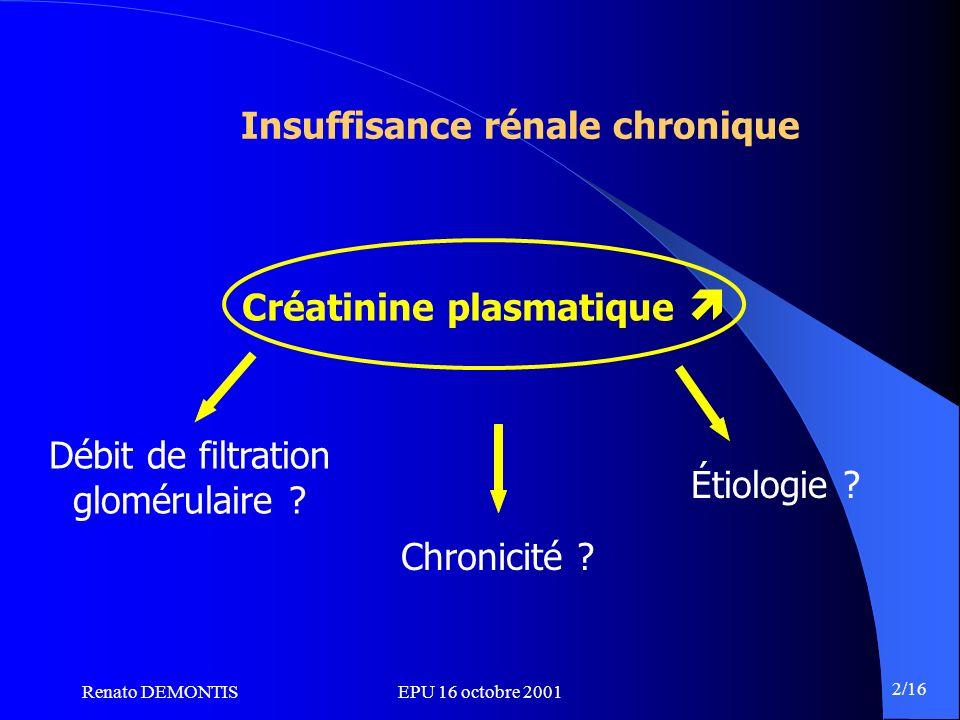 Insuffisance rénale chronique Créatinine plasmatique 