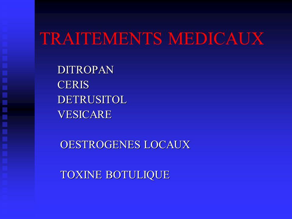 TRAITEMENTS MEDICAUX DITROPAN CERIS DETRUSITOL VESICARE