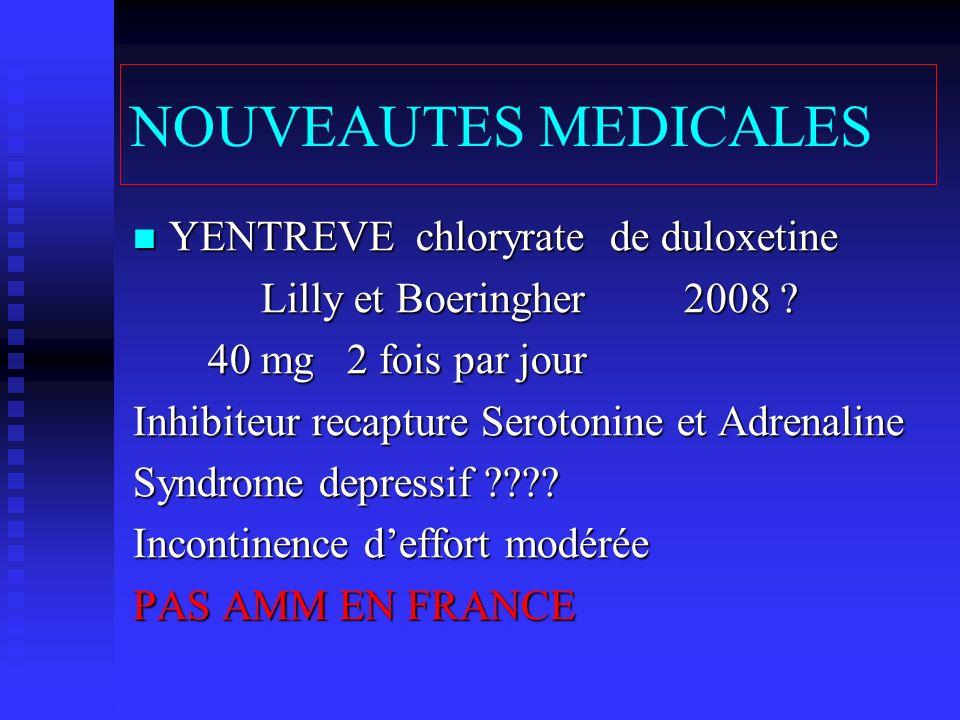 NOUVEAUTES MEDICALES YENTREVE chloryrate de duloxetine