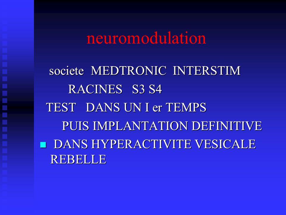 neuromodulation societe MEDTRONIC INTERSTIM RACINES S3 S4
