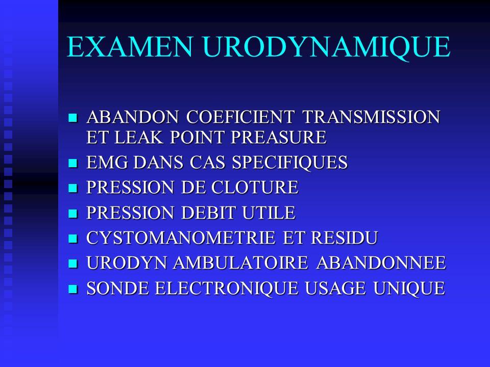 EXAMEN URODYNAMIQUE ABANDON COEFICIENT TRANSMISSION ET LEAK POINT PREASURE. EMG DANS CAS SPECIFIQUES.