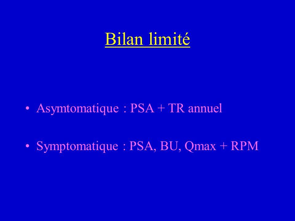 Bilan limité Asymtomatique : PSA + TR annuel