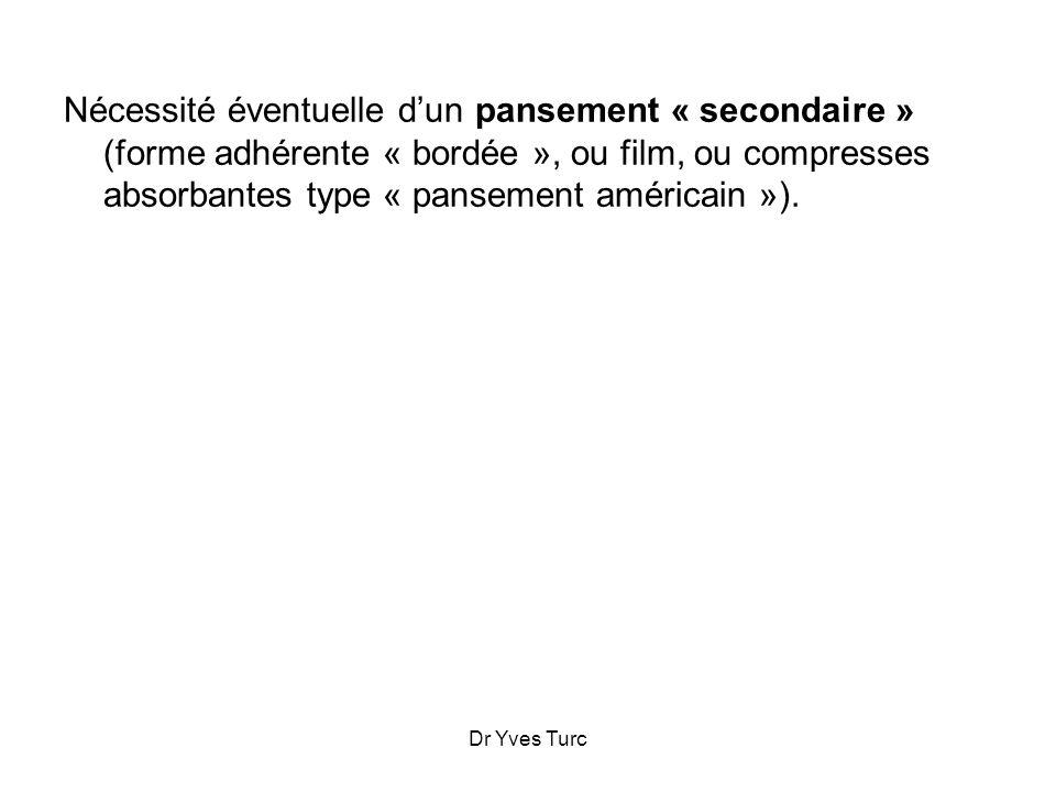 Nécessité éventuelle d'un pansement « secondaire » (forme adhérente « bordée », ou film, ou compresses absorbantes type « pansement américain »).
