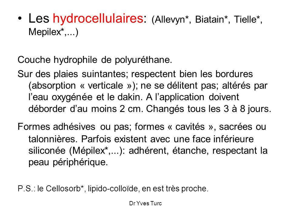 Les hydrocellulaires: (Allevyn*, Biatain*, Tielle*, Mepilex*,...)