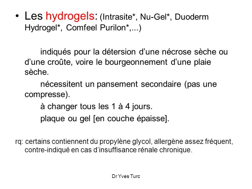 Les hydrogels: (Intrasite. , Nu-Gel. , Duoderm Hydrogel