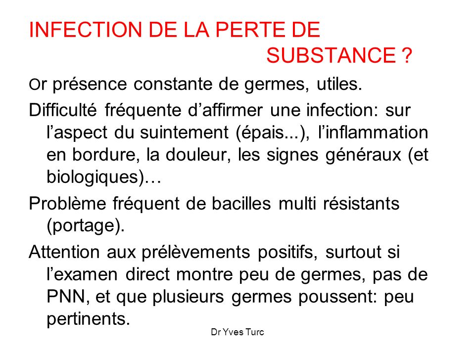 INFECTION DE LA PERTE DE SUBSTANCE