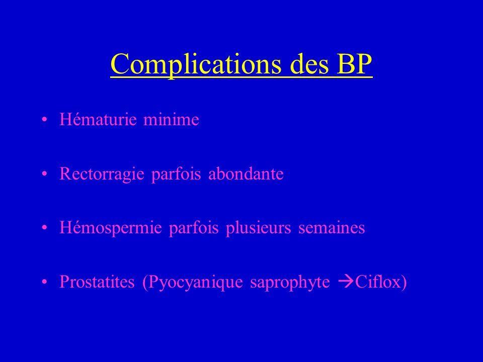 Complications des BP Hématurie minime Rectorragie parfois abondante