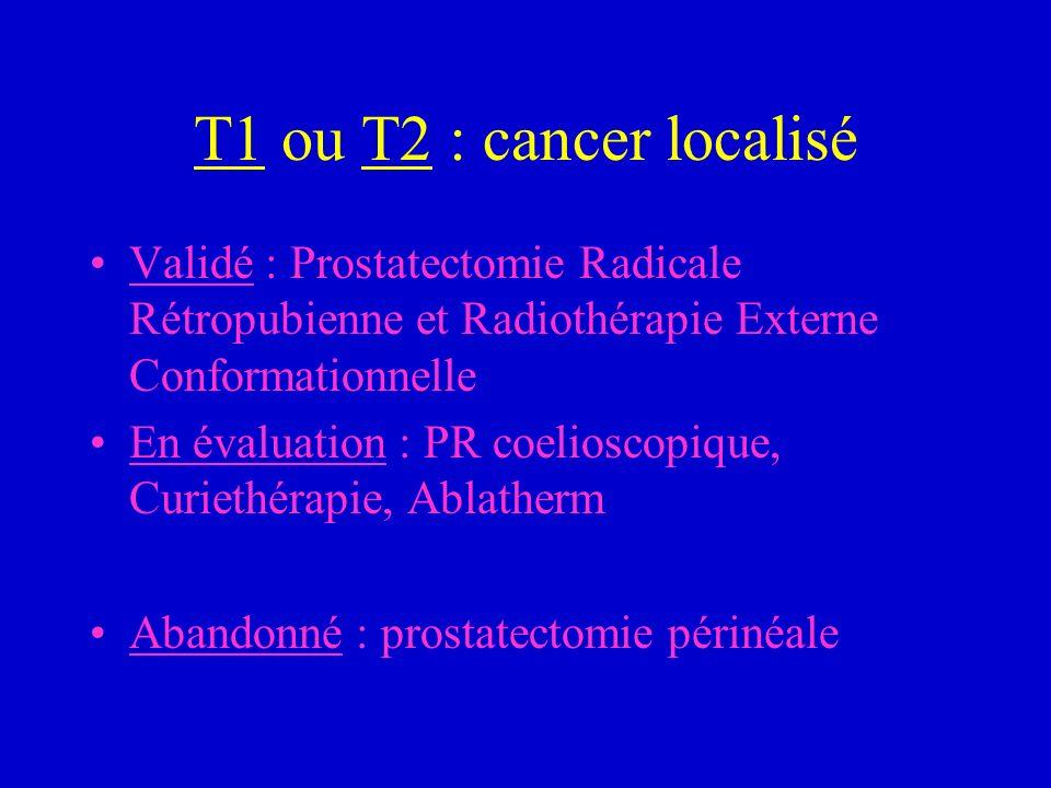 T1 ou T2 : cancer localisé Validé : Prostatectomie Radicale Rétropubienne et Radiothérapie Externe Conformationnelle.