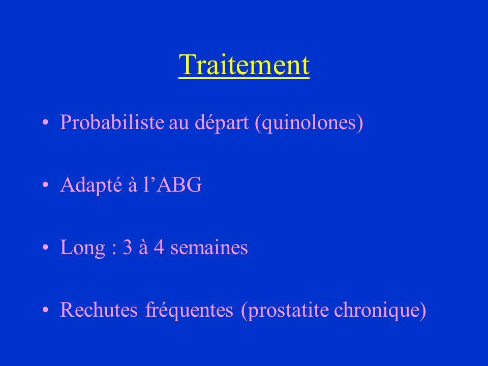 Traitement Probabiliste au départ (quinolones) Adapté à l'ABG