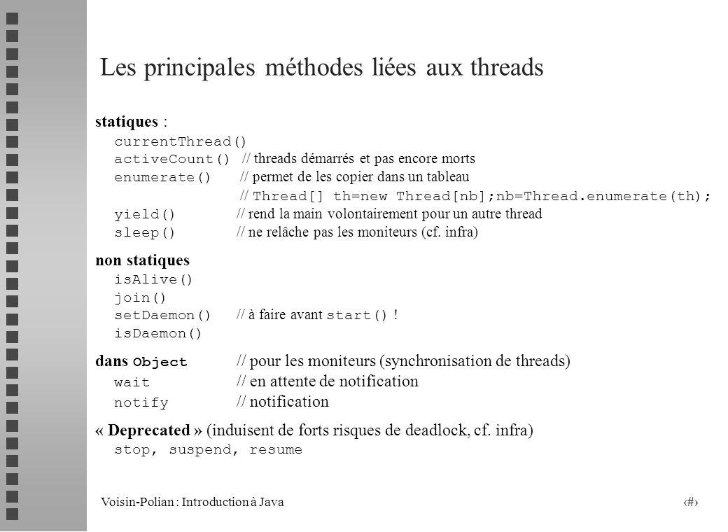 Les principales méthodes liées aux threads