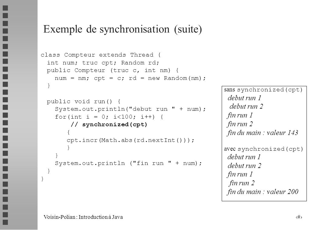 Exemple de synchronisation (suite)