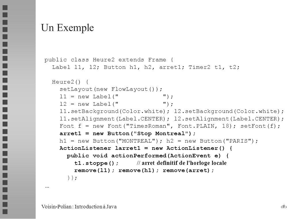 Un Exemple … public class Heure2 extends Frame {