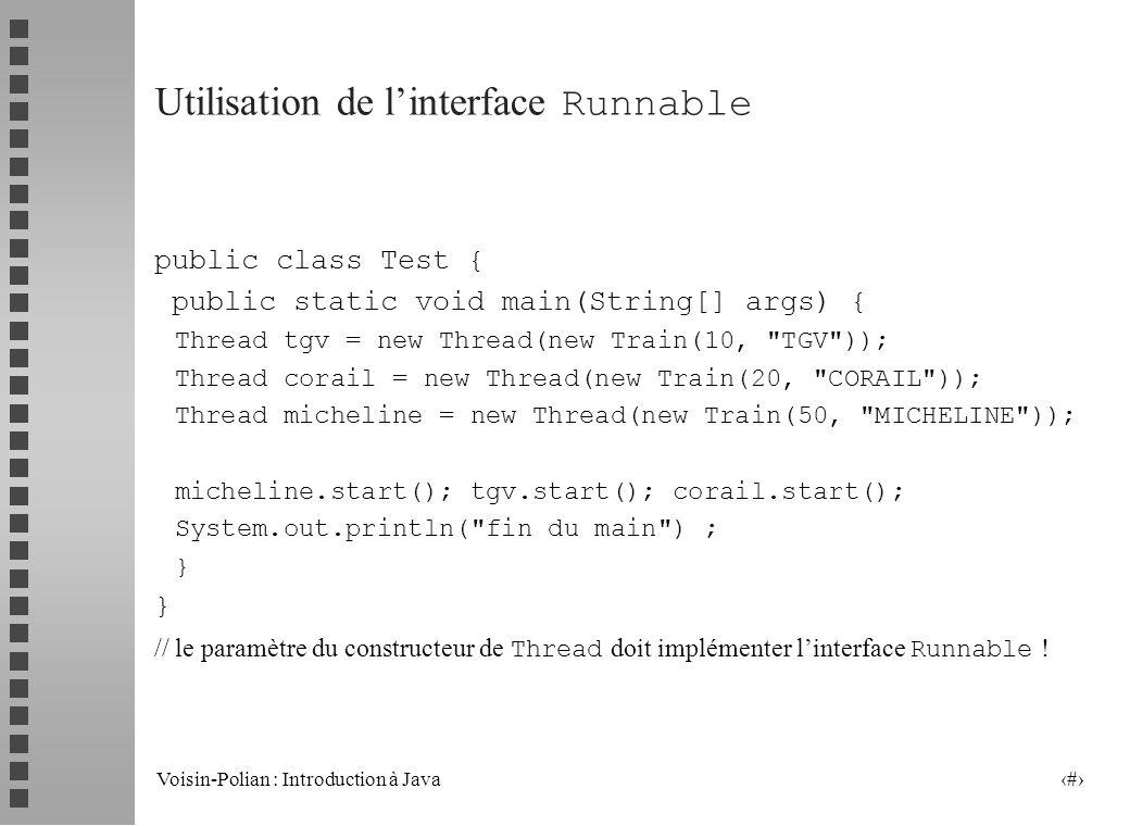 Utilisation de l'interface Runnable