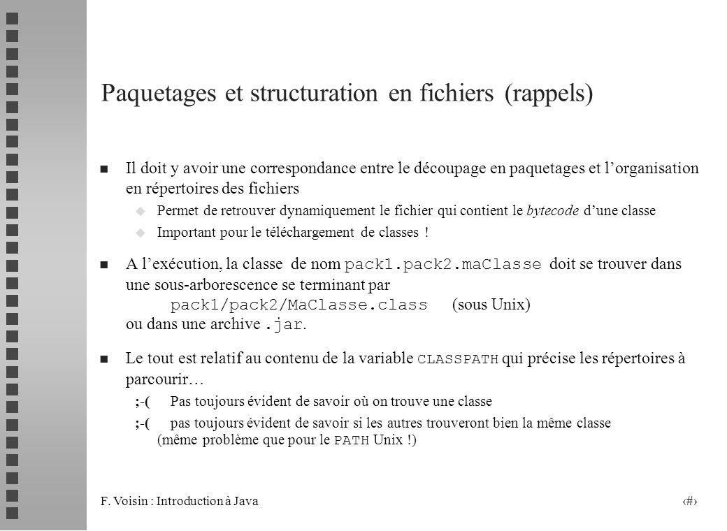 Paquetages et structuration en fichiers (rappels)