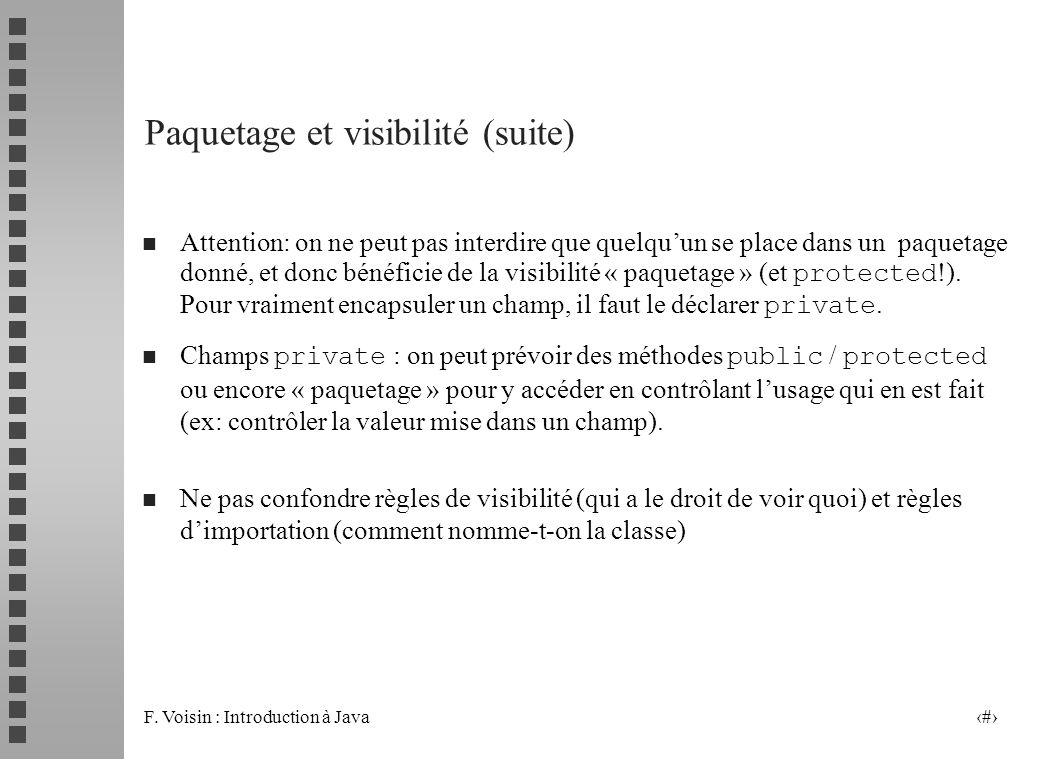 Paquetage et visibilité (suite)